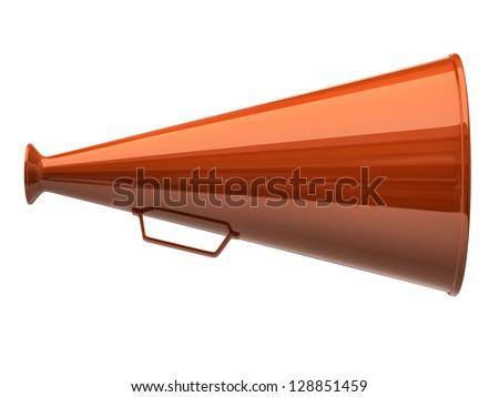 Orange megaphone icon on white background - stock photo