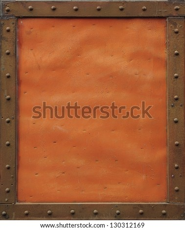 Orange metal plate - stock photo