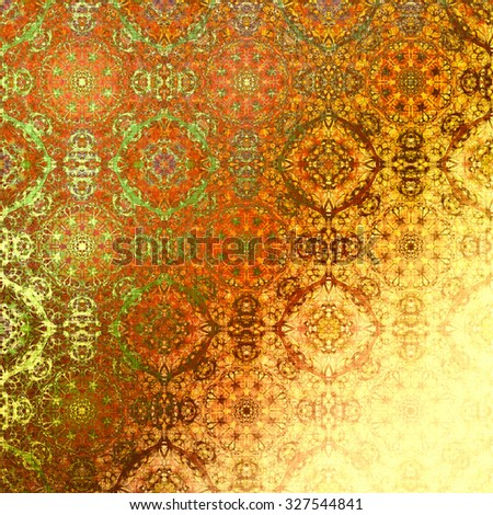 Orange metallic oriental pattern, indian traditional elements. Royal gold texture for textile, wallpapers, advertisement, page fill, book covers etc. Christmas background, golden foil - stock photo