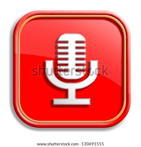 Orange microphone button isolated on white background