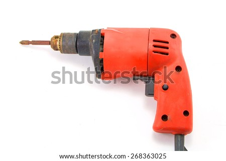 Orange mini Portable drill isolated on white background - stock photo