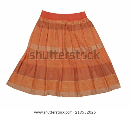 orange miniskirt  isolated on white