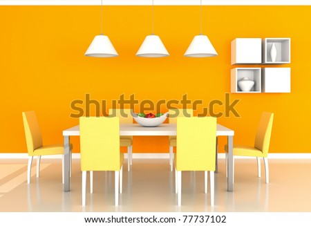 orange modern dining room - stock photo
