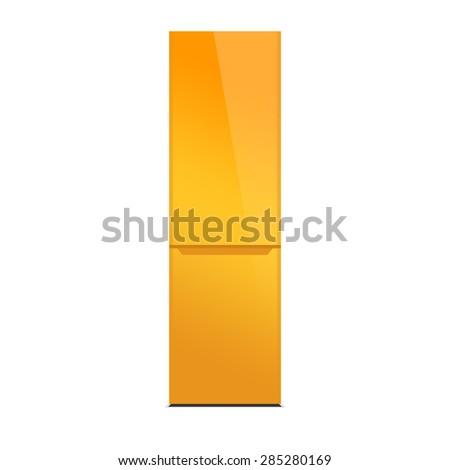 Orange modern refrigerator, colorful design, isolated on white - stock photo