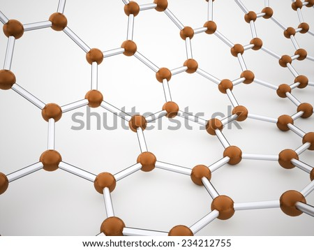 Orange molecular cell tube structure rendered - stock photo