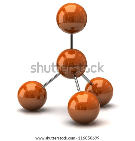 Orange molecule icon - stock photo