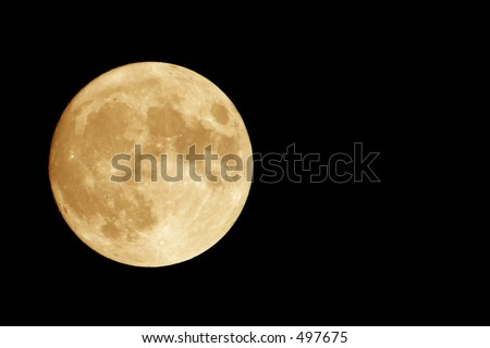 Orange Moon with Negative Space - stock photo