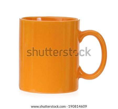 Orange mug for coffee or tea, isolated on white background - stock photo