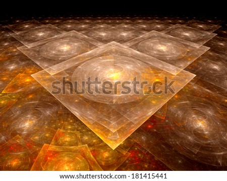 Orange nanotechnology background, computer generated 3d fractal - stock photo