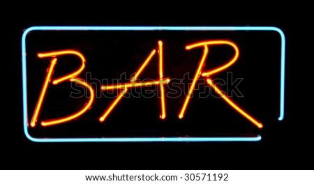 Orange neon bar sign. Advertising neon sign glow in dark - stock photo