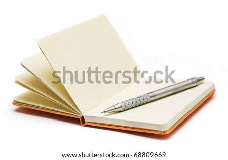 Orange note book with pencil.  Look through my portfolio to find more images of the same series - stock photo