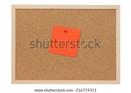 Orange note on a pin board - isolated on white background - stock photo
