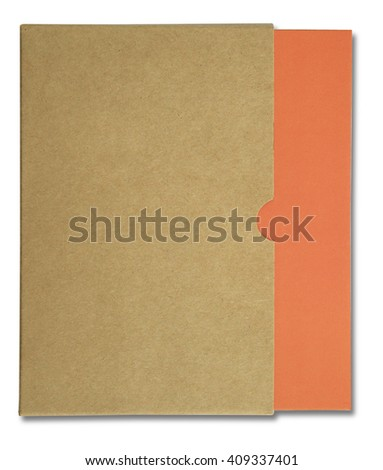 Orange notebook in brown paper case isolated on white background - stock photo