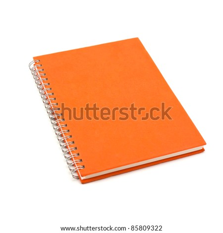 orange notebook isolated on white background, office equipment