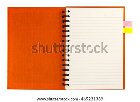 Orange notebook open with blank page and notepaper isolated on white