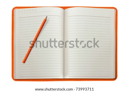 orange notebook with a pencil