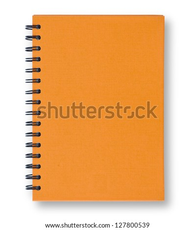 Orange notebook with ring spiral isolated on white.