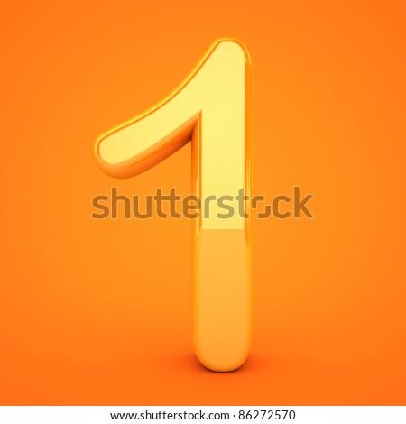 Orange number 3D rendered - stock photo