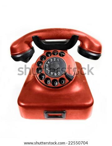 Orange old rotary phone - stock photo