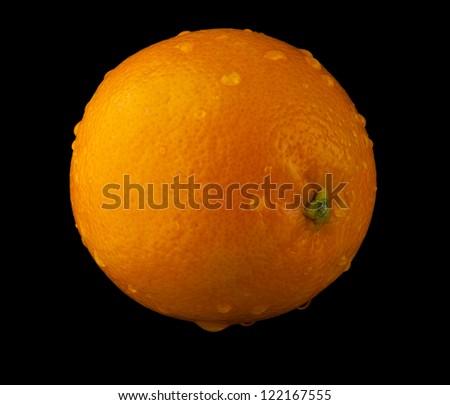 orange on a black background - stock photo