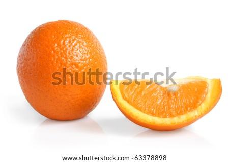 Orange on the white background - stock photo