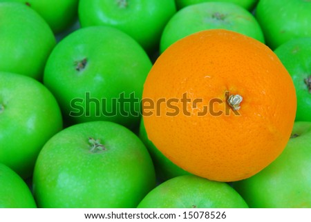 Orange on top of the apples background - stock photo