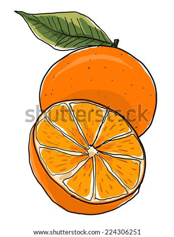 Orange one and a half painting - stock photo