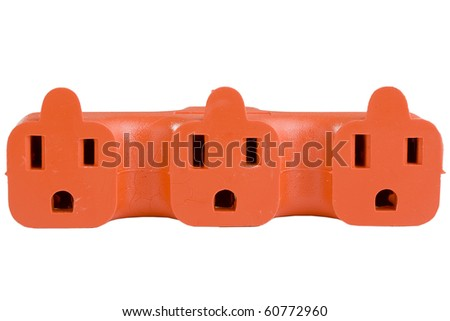 Orange outlet surge adapter isolated on a white background. - stock photo