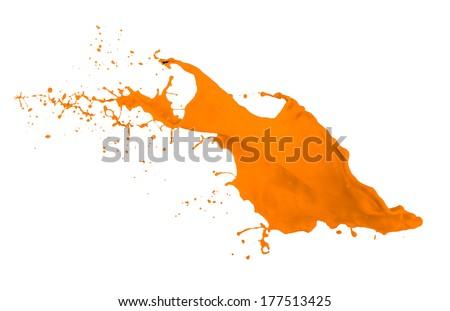 orange paint splash isolated on white background - stock photo