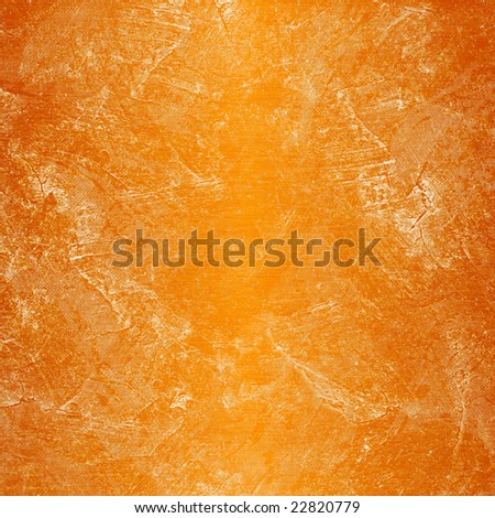 Orange painted wall, damaged, grunge, dirty with little sand specks - stock photo