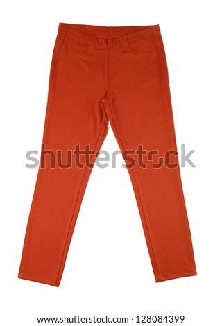 orange pants isolated on white background