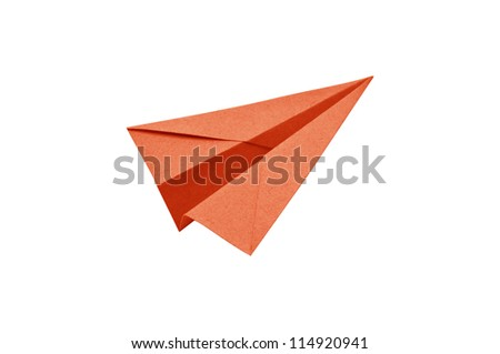 Orange Paper aircraft, Paper Plane on a white background,