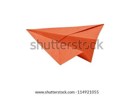 Orange Paper aircraft, Paper Plane on a white background, - stock photo