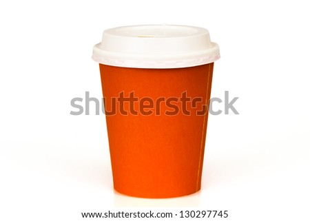 Orange paper cup isolated on white - stock photo