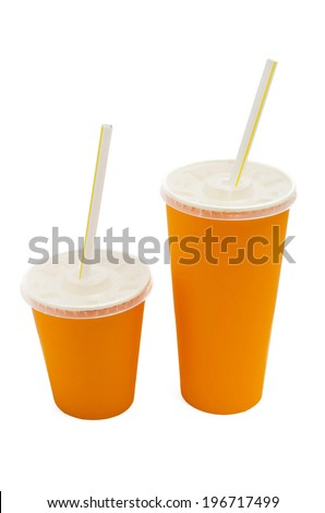 Orange paper cup isolated  on white background - stock photo