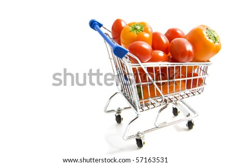 Orange paprica's and little tomatoes in shopping trolley