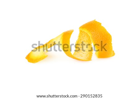 Orange peel isolated on white - stock photo