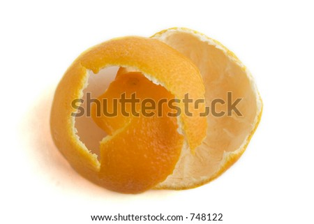 Orange peel on a white background