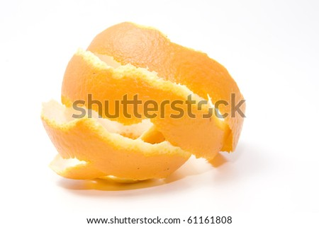 orange peel over white background - stock photo