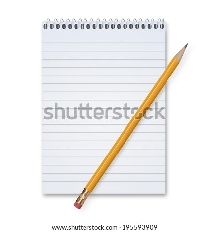 Orange Pencil on a blank notepad with metal spiral with lots of copy space, isolated on a white background with shadow. - stock photo