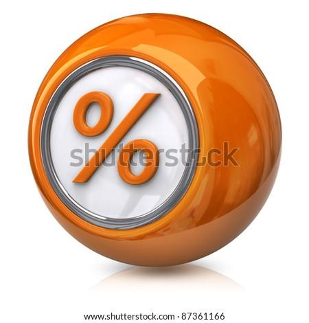 Orange percentage icon - stock photo