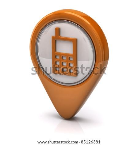 Orange Phone icon - stock photo