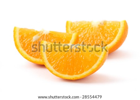 Orange pieces put together and isolated on white background. - stock photo