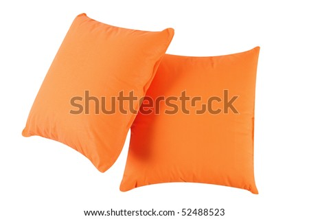 Orange pillows. Isolated - stock photo