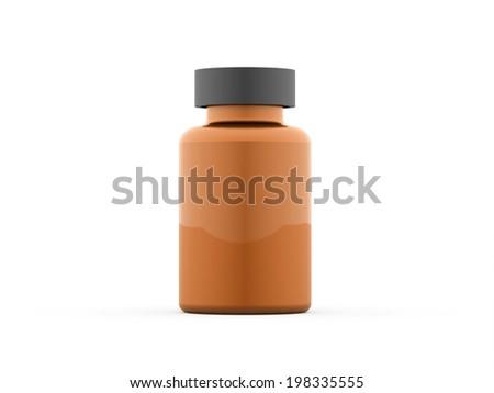 Orange pills bottle isolated on white - stock photo