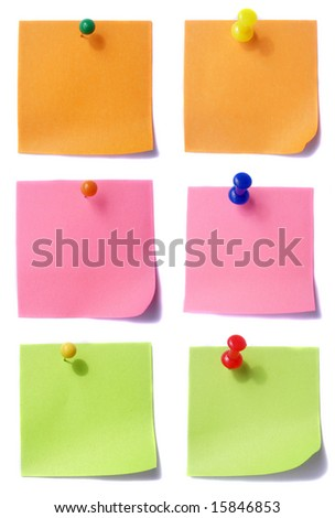 Orange, pink and green notes paper - stock photo