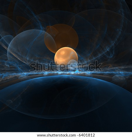 orange planet in space - stock photo