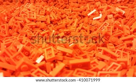 Orange plastic blocks - stock photo
