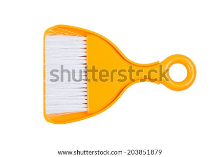 Orange Plastic broom on isolated white background. Saved with clipping path. - stock photo