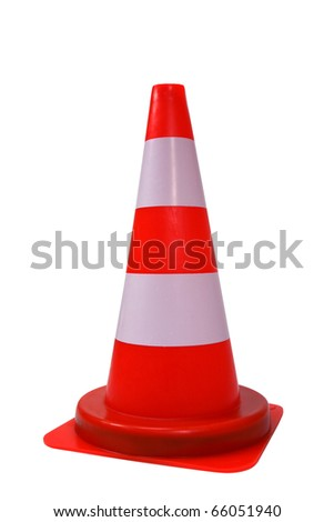 Orange plastic cone with reflective stripes isolated on white background